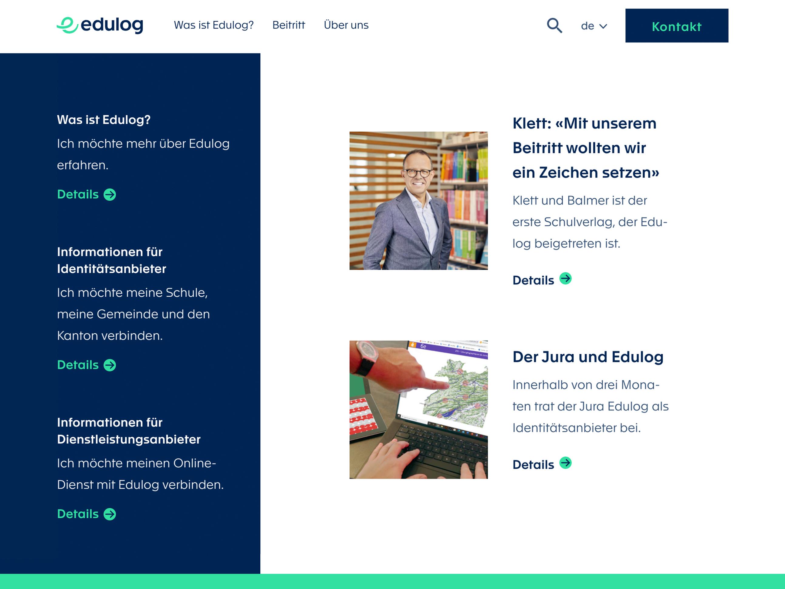 Website Edulog Frontseite