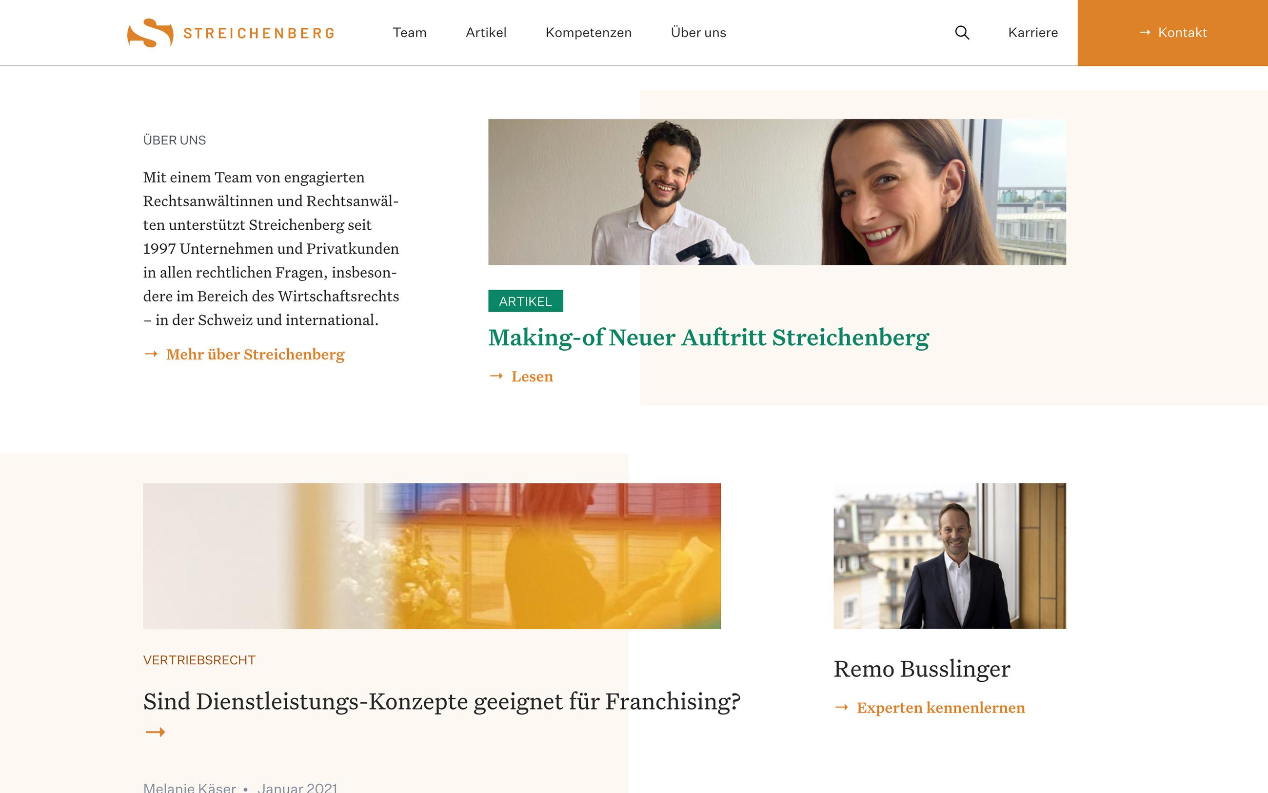 Website Streichenberg Frontseite