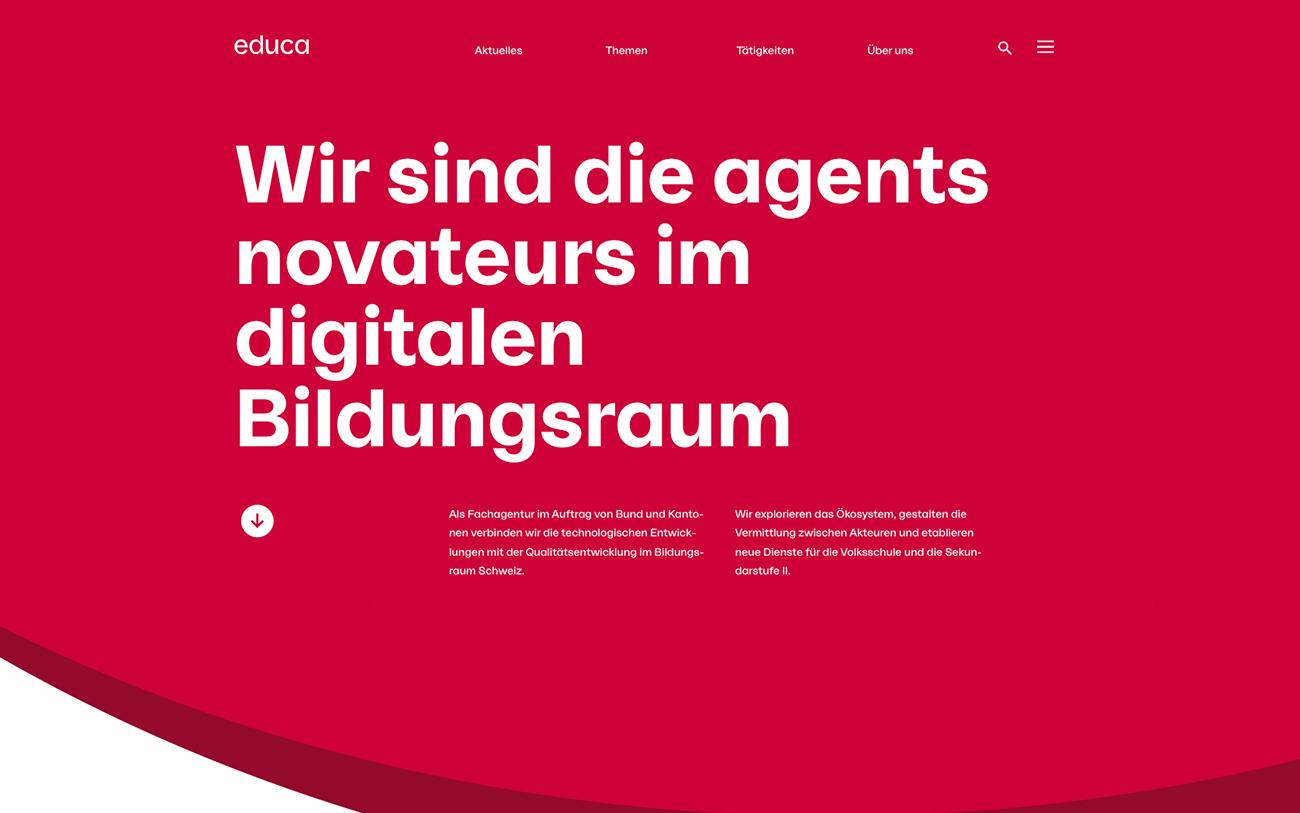 Screenshot der Educa Startseite