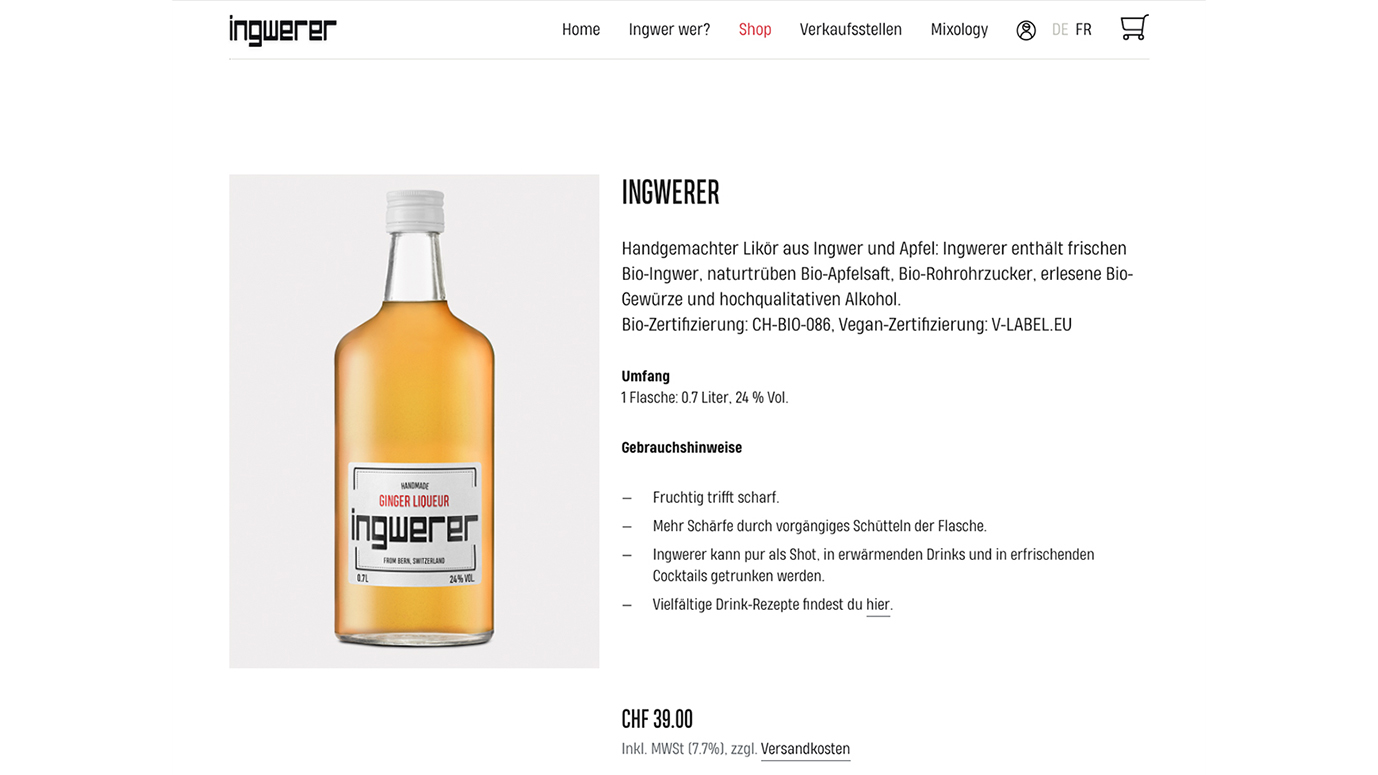 Screenshot von Ingwerer Produkt